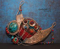 Asymmetric jewelry Contemporary jewellery Copper art от Leslyfelt