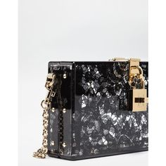 Dolce Box Clutch In Plexiglass And Lace ($2,175) ❤ liked on Polyvore featuring bags, handbags, clutches, box clutch, dolce gabbana handbags, dolce gabbana purses, metallic purse and flower purse