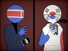 South Korea North Korea, Fandom, Hard To Love, Country Art, Hetalia, Memes, Animation, Cartoon, Pictures