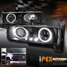 88-93 C10 C//K Silverado Halo Projector Headlights+Signal Bumper+LED Tail Lights