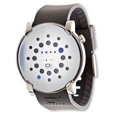 Gamma Ray GRR116B3  Reloj 01The One. Original diseño con leds azules. Indica la fecha y la hora. Caja de acero inoxidable, cristal mineral endurecido, correa de caucho, resistente a 3 ATM. Estuche 01The One incluido.   Dos años de garantía Dimensiones (sin la correa): 44 mm Ø x 12,40 mm