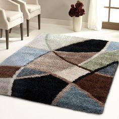Carolina Weavers Shag Scene Collection Specter Multi Area Rug (6'7 x 9'8) (6 ft 7 in x 9 ft 8 in), Beige, Size 7' x 10' (Plastic, Geometric)