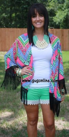 Trim and Proper Chevron Tribal Kimono in Fuchsia and Royal with Black Fringe www.gugonline.com $34.95
