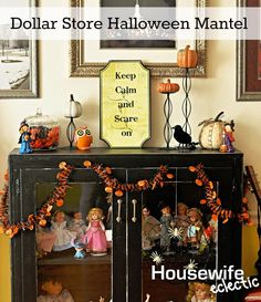 Housewife Eclectic: Dollar Store Halloween Mantel