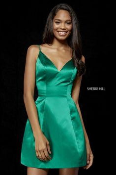 906950ed31f Emerald 2018 V Neckline Satin Homecoming Gowns 52111 By Sherri Hill