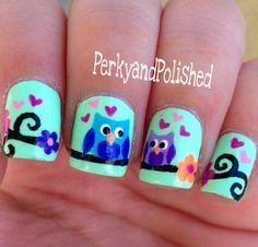 Nail Art Designs For Short Nails Owl Nail Art, Kawaii Nail Art, Funky Nail Art, Animal Nail Art, Heart Nail Art, Funky Nails, Cute Nails, Safari Nails, Feather Nail Art