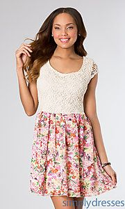 Buy Short Print Casual Dress with Lace Bodice at SimplyDresses