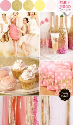 Bridal Shower Party Palette { Gold & Pink + Glitters & Sparklers }  fabmood.com
