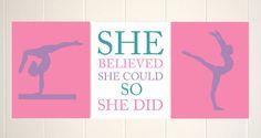Girls gift idea, inspirational girls art, girls gymnastics, gymnast room decor, teen girls art, She believed she could, set of 3 prints by PicabooArtStudio