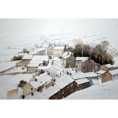 Gunnerside Winter by Ian Baxter @ Mini Gallery - Watercolour Painting