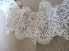 ivory Bridal Embroidered Lace Trim Vintage Wedding Lace by LaceFun