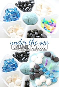 Under The Sea Ocean Sensory Play and Homeade Playdough Recipe Rainy Day Crafts, Easy Crafts For Kids, Easy Diy Crafts, Diy For Kids, Holiday Activities, Craft Activities For Kids, Activity Ideas, Craft Ideas, Sand Crafts