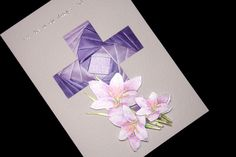 Image of Handmade Sympathy Card - Purple Cross.  This is a lovely Iris Folded card from http://www.handcards.co/sympathy/purple-cross.html