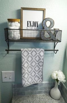 Guest Bathroom Makeover | Bathroom Decor | Sea Salt by Sherwin Williams | Grey Granite Countertop | White Grey Vanity | Quatrefoil Mirror | Hanging Shelf | Neutral Decor | Farmhouse Style | Clean Fresh Straight Lines | Before and After | Enjoy the Little Things | Hobby Lobby | Ampersand by victoria