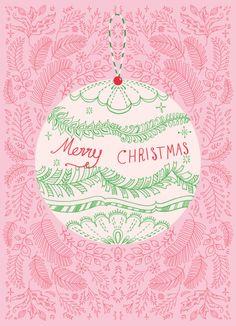 Pimlada Phuapradit - Christmas Baubles Pink And Green Shabby Chic Christmas, Cozy Christmas, Merry Christmas And Happy New Year, Green Christmas, Christmas Baubles, Vintage Christmas, Christmas Time, Christmas Decorations, Christmas Illustration