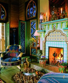 Inspiration for decorating a small space -- this isn't so compact but shows how color can work even in tight spaces. indoor-architecture-moroccan-interior-design-style-69