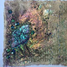 Tyvek, Angelina fibres, beading and stitching. Fiber Art Quilts, Textile Fiber Art, Textile Artists, Textiles Techniques, Art Techniques, Angelina Fibres, Fibre And Fabric, Fabric Journals, Lesage