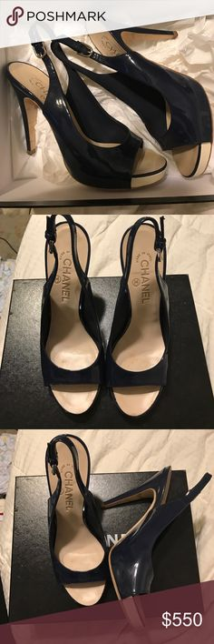 CHANEL patent leather navy pumps These Chanel pumps are beautiful and timeless, like everything else in the collection. They have only been worn once out to dinner. They are shiny navy blue patent leather. The size is 38.5 but is closer to 8. Open to offers!! CHANEL Shoes Heels
