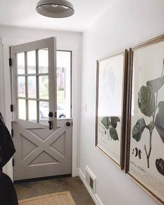 Small entry hallway with gray Dutch door