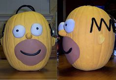 Pumpkin decorating   Homer Simpson Decorated Pumpkin Photo