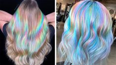There's now a Holographic Hair Craze and its Mesmerising! - World of Hair Colors Curly Hair Styles, Natural Hair Styles, Colored Hair Styles, Prom Hair Updo, Updo Hairstyle, Hairstyle Ideas, Creative Hairstyles, How To Draw Hair, Cool Hair Color