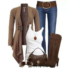 Clasped cardigan, jeans, white tee, boots and accessories