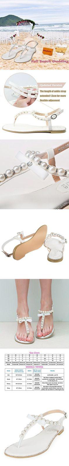 SHOEZY Womens Pu Leather Flat Sandals Wedding Pearls Rhinestone Thong Strap Gladiator Shoes US 7