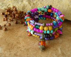 Items similar to Gypsy Queen Layered Bracelet Stack, Hot Pink and Purple Bracelet, Junk Gypsy Charm Bracelet, Women, Gift for Her, Boho Jewelry on Etsy