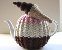 Hand knitted Tea Cosy - Kelso Collection - in pure wool - Neapolitan - with Chocolate Ice-cream Cone - Size MEDIUM - by Tafferty Designs