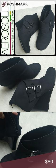 Aerosoles Wedge Ankle Boots Aerosoles Signature Brand in Patent Pending Black Faux Suede Wedge Booties! Get that Casual Cool Weather Look with This Classic Trendy Wedge of About 3 Inches! Back Zipper Closure with Metal Buckle Details on Outer Side! Size 7.5M, Used in Mint Condition! AEROSOLES Shoes Wedges