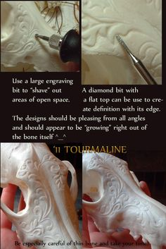 Bone carving. Wear a mask when you work with bone and antler. Don't let it make you sick. It will if you inhale it.