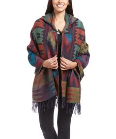 Another great find on #zulily! Blue & Purple Geometric Hooded Shawl #zulilyfinds