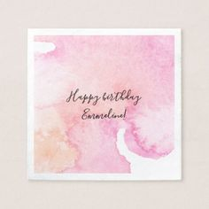Pretty Pink Peach Watercolor Birthday Napkin - birthday diy gift present custom ideas Diy Gifts For Mom, Diy Holiday Gifts, Watercolor Birthday Cards, Watercolor Cards, Birthday Diy, Birthday Gifts, Karten Diy, Bday Cards, Planner