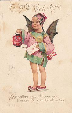 Brundage : Bat Cupid w/ Lantern , To My Valentine , PU-1907