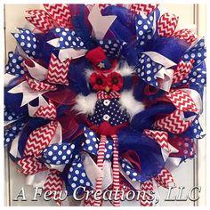 FREE SHIPPING! Patriotic Owl Deco Mesh Wreath