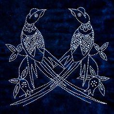 Pheasants Sashiko Kit   Sylvia Pippen Designs