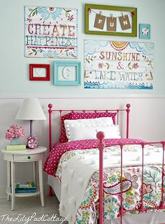 love the artwork and colors for as big girl room just add a little orange - Girl Bedroom Color Ideas