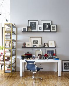 Office Area- ELLEDecor.com Interior Design New York, Top Interior Designers, Loft Design, House Design, Home Office, Design Weekend, Nyc Decor, Elle Decor, Ideal Home