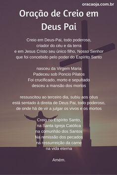 Oração de Creio em Deus Pai #creio #oracao #oracaoja Catholic Prayers, Jesus Prayer, Catholic Religion, Bible Lessons, Kirchen, Reiki, Namaste, Blessed, Spirituality