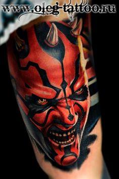 Star Wars Darth Maul Tattoo - Oleg Shepelenko http://tattoosgeek.com/star-wars-tattoos/darth-maul-tattoo/