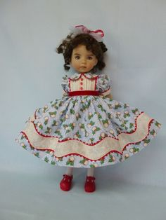 Blue Christmas Outfit for Emily Little Darling Effner Doll by Apple