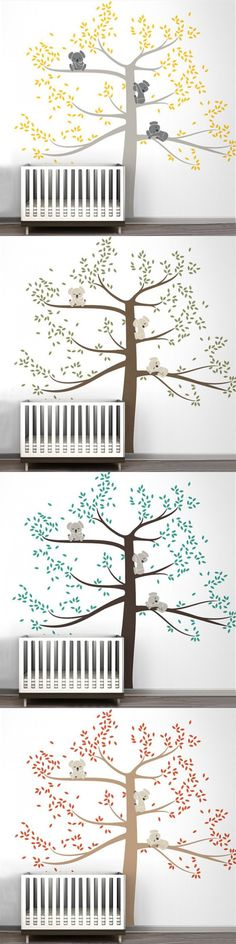 Spring Koala Tree Vinyl Wall Decal Removable Wall Sticker Tree Nursery Vinyls Baby Room Decor Wall Stickers Home Decoration Nursery Stickers, Wall Stickers Home, Vinyl Wall Decals, Baby Nursery Decor, Nursery Themes, Baby Decor, Baby Room Neutral, Baby Room Design, Removable Wall Stickers