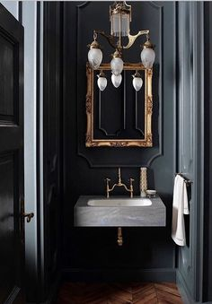 Serious bathroom interior design inspiration, gilded mirrors and marble with gre. Serious bathroom interior design inspiration, gilded mirrors and marble with grey accents Bad Inspiration, Bathroom Inspiration, Interior Inspiration, Interior Ideas, Salon Interior Design, Interior Design Magazine, Gold Interior, Interior Office, Interior Logo