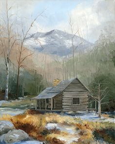 Giclee print of Naoh Ogle's Cabin Located In The Great Smoky Mountains National Park, TN Watercolor Pencil Art, Watercolor Landscape, Landscape Paintings, Acrylic Painting Images, Diy Painting, Country Barns, Old Barns, Farmhouse Paintings, School Painting