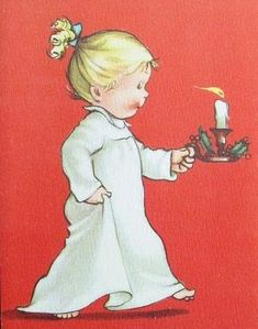 Eva Harta Crestwick Xmas Greeting Card Girl in Nightgown Holding a Candle