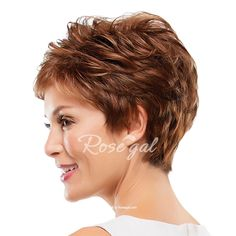 Assorted Color Ultrashort Elegant Side Bang Towheaded Curly Human Hair Wig For Women