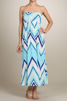 CHEVRON PRINT MAXI SKIRT SUNDRESS -   BLUE