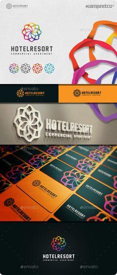 Resort Hotel  Logo Design Template Vector #logotype Download it here: http://graphicriver.net/item/resort-hotel-logo/11045594?s_rank=1070?ref=nesto