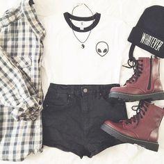 Plaid Shirt & White Cute Tshirt & Black Denim Short