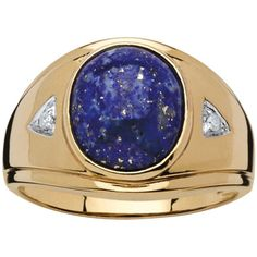 PalmBeach Men's Blue Lapis and Diamond Accent Ring